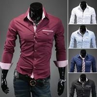 New Man's Shirt Light Denim Stylish Dress Shirts Grid color patch pocket leisure shirt men 3 Colors 4 Size