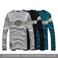 Free shipping New 2014 Spring Fashion Creative Printing Long Sleeve Brand T-shirt for Men O-neck Casual Long Sleeve T-shirt.