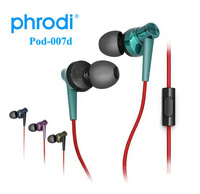 3.5mm Phrodi POD-007p stereo sports earphone low HIFI phone tablet pc headset with microphone Subwoofer pro quality