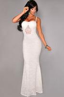winter dress 2014 vestidos de festa vestido longo White Mermaid Lace Maxi Evening Gown party evening elegant long lace evening