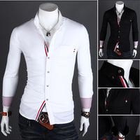 2013 Fashion spring and summer Slim solid color metal buckle men's long-sleeved shirt Welt hitting scene