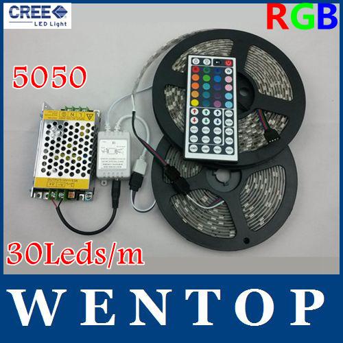 10M SMD 5050 300Leds RGB LED Strip and 44 Key IR Remote Control and 12V 5A Power Supply 30Leds/m(China (Mainland))