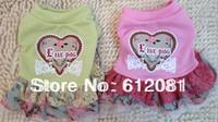 Free shipping new style cotton pet dog puppy cat dress coat skirt summer dress pink/blue/green