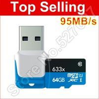 Brand Lexar 633x 64gb micro sd card sdxc 64 gb real capacity tf card 64g memory card Free card reader For samsung Lenovo Mobile