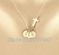 Personalized THREE initials Necklace and 16K Gold Plated Sideways cross, Three Monogram Disc necklace,Sister Necklace