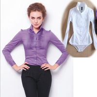 2014 spring women bodysuit  fashion cotton blends long-sleeve stripe body shirt blouses black/purple/white shirt body suit