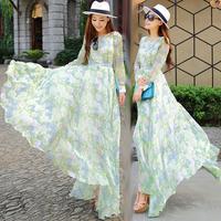2014 autumn summer bohemian dress, star print peacock long dresses, new fashion peacock floral print dresses chiffon dress long