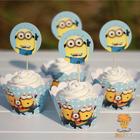 2014 Despicable ME Minions cupcake wrappers&toppers picks decoration kids birthday party favors supplies(60pcs wraps+60 toppers)