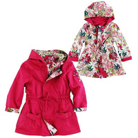 14 pcs/lot Kids Wind Breaker 2014 New Spring France brand designer children Floral girls coat  outerwear reversible coats Trench