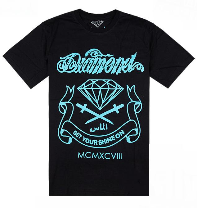 "New style Diamond shirt, men's O-neck Diamond t shirt shirts men clothes ""Get Your Shine On"" hip hop shirt 7 colors(China (Mainland))"