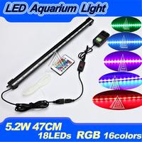 2014 New Arrival 47CM 5.2W 18LED LED Aquarium Light Bar Underwater Fish Tank Light Lamp Lighting IP68  RGB 16 colors 4 Modes