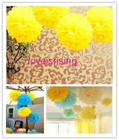 "Free shipping-10pcs 38cm (15"") Yellow Tissue Paper Pom Poms Wedding Party Decor Flower Balls For Living Room Decor-20 Colors"