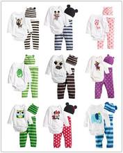 los niños de algodón nuevo 2014 bebé niños niñas ropa 3 piezas( largo- manga romper+hat+pants) niños ropa conjunto ahy004(China (Mainland))