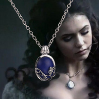 2014 New Arrival The Movie Vampire Diaries Elena With Natural Stone Pendant Short Necklace