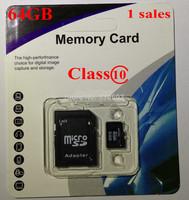wholesale + Retail Free shipping NEW MicroSD16GB 32GB 64GB Micro SD Memory Card TF16GB 32GB 64 GB, 64G with freeRetail packaging