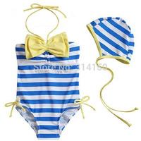 Vivo-biniya Girl's Summer Bathing Suit Toddler Bow Swimwear Beachwear Children Striped One-piece Swimsuit Bikini Free Shipping
