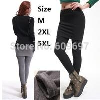 Plus Size M,2XL,5XL(Waist 87cm) 2014 New Fashion Warm Winter Dress Women Pantskirts Female Leggings Lady pantskirt Casual dress