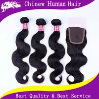 "6A Grade Unprocessed Remy Brazilian Hair Body Wave Closure 4 pcs lot Cheap Brazilian Hair Bundles with Lace Closure 4"" * 4"""