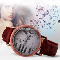 New Brand Women Vintage Watches Paino Music Quartz Watches Woman Dress Wristwatch Leather Strap Sports Ladies Watch QZ3599