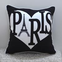 45*45 CM Home Decor Ikea Love Heart Paris Eiffel Tower Printed Throw Pillow Case Cushion Cover for Sofa almofadas decorativas