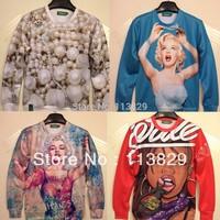 [Magic] 2014 new 3d sweatshirts women high quality sexy lady/pearl printed hoodie fashion thin 3d women sweatshirt free shipping