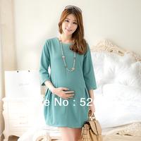 Fashionable 2014 spring one-piece dress three quarter sleeve adjustable maternity dress