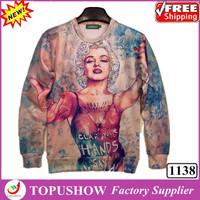 New 2014 Beauty Marilyn Monroe Sweatshirts Funny 3D Figure Pullover Hoodies Women creative sweatshirts Causal Tops Plus Size
