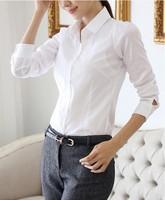 2014 spring Women Long sleeve shirt Plus Size S-XXXXL white fashion OL shirt  Free Shipping