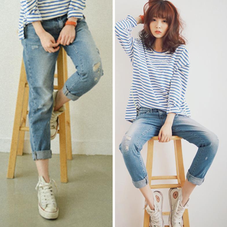 новые моды потерять парня джинсы для женщин хлопка разорвал отверстие джинсовые брюки дизайнер весной и летом s-xl