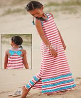 Retail 2014 Summer Hot New 2-14Y girl clothings,kid girls Stripes&Ruffles Maxi beach long Dress,baby Dot Bowknot high quality
