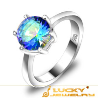 New 2014 Fashion Style Classic Design Romantic Blue Fire Mystic Topaz Crystal Rings Engagement Ring R0202  (USA Size 7 8 9 )