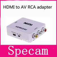 2014 New MINI 1080p video HDMI to AV RCA cable adapter cable converter box with audio HDMI2AV NTSC and PAL Output free shipping