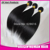 DF Hair:Queen Love Peruvian Virgin Hair Extension Grade 5A 100%Human Hair Weaves Silky Straight Natural#1b 8''-28'' 5pcs/lot