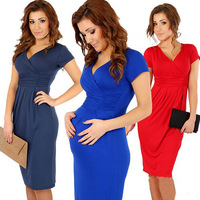 2014 new women dress summer short sleeve brand bodycon dress V- Neck casual dress plus size party dress D006