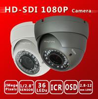 Free shiping HD SDI 1080P 1/2.8''Sony Exmor Sensor  digital security camera Varifocal Dome 36 IR 2.8-12MM SDI cam cctv camera