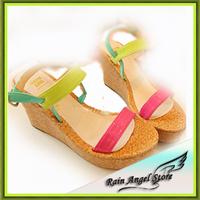 2014 Beautiful Color Block  Platform Wedges Sandals Woman Candy Color Patent Leather Pumps Summer Shoes
