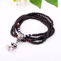 Wood beads spirally-wound elastic bracelet necklace pendant necklaces pendants best friend
