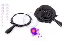 portable pocket plastic mirror vintage flower caving black rose hand Cosmetic Make Up Wholesale whcn+