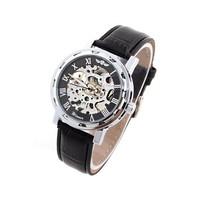 Unisex Winner Skeleton Watch Steel Case Analog Mechanical Watches Leather Strap New 2014