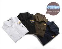 New Arrival 2014 Mens Military Shirts Army Short Sleeve Shirt Polo Blue Shirts Men's Uniform Summer Dress Shirt 4 Color , S-XXXL
