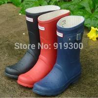 Free Shipping 2014 Women Fashion Short Rain Boots Waterproof Women Flat Heels Rainboots Ankle Water Shoes 9 Colors #TS25