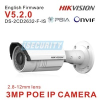 DS-2CD2632F-IS Hikvision 3MP Network IP camera with 2.8-12mm vari-focal lens IR w/ 3D DNR & DWDR & BLC, IP66 support POE