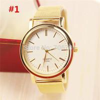 18 Models Classic Stainless Steel Watch Women Dress Watch Fashion Watch Golden Quartz Watch 1piece/lot