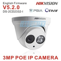 Hikvision 3megapixel network dome IP camera 3pcs array 30m IR night vision support POE DS-2CD2332-I cctv ip camera free shipping