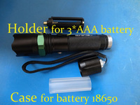 Free shipping Glare flashlight charge led zoomable cree q5 wick waterproof with a holder and case for battery wholesale
