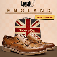 2014 New Arrival Men's England Fashion Tassel Cut-Outs Formal Shoes men dress shoe Flat Shoes Genuine Leather  LoyalCo