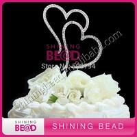 Double Heart Rhinestone Wedding Cake Topper