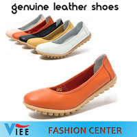 2014 New women shoes leisure wild head slip leather shoes breathable square dancing ladies jump shoes H0188