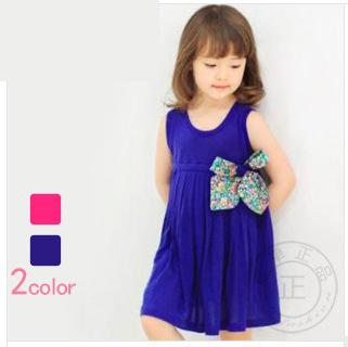 Korean Baby Dress Girl 100% Cotton Baby Wear Royal/Purple-Red Girls Dresses Bow Girls Clothing Sets FreeShipping32464(China (Mainland))