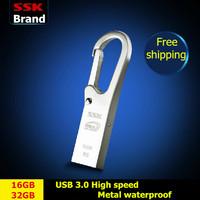 SSK K6 USB 3.0 100% 16GB 32GB USB flash drives pen drive waterproof high speed metal usb flash drives Free shipping